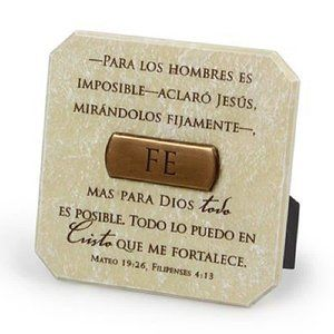 Fe (Faith) White Resin Plaque With Bronze Title